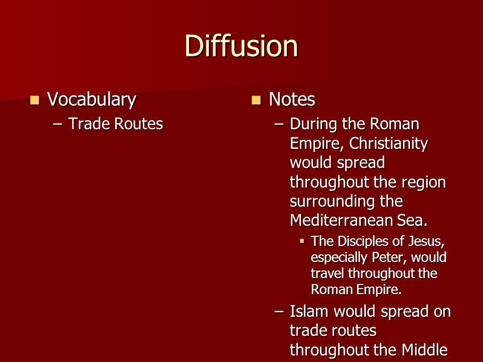 Diffusion Vocabulary Notes Trade Routes