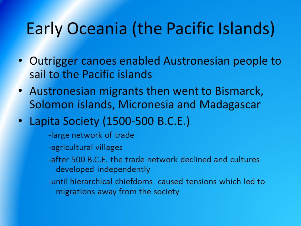 Early Oceania (the Pacific Islands)