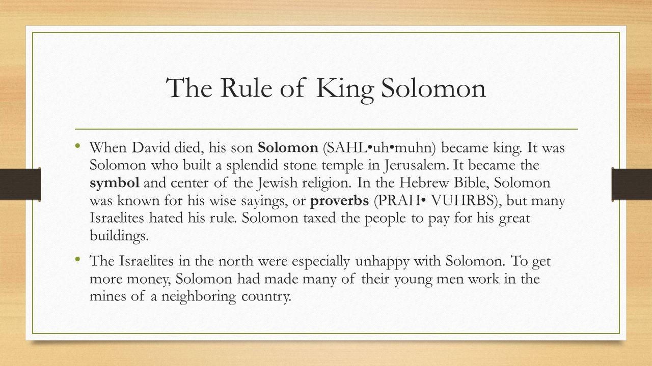 The Rule of King Solomon