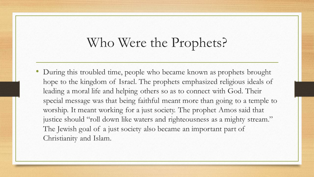 Who Were the Prophets