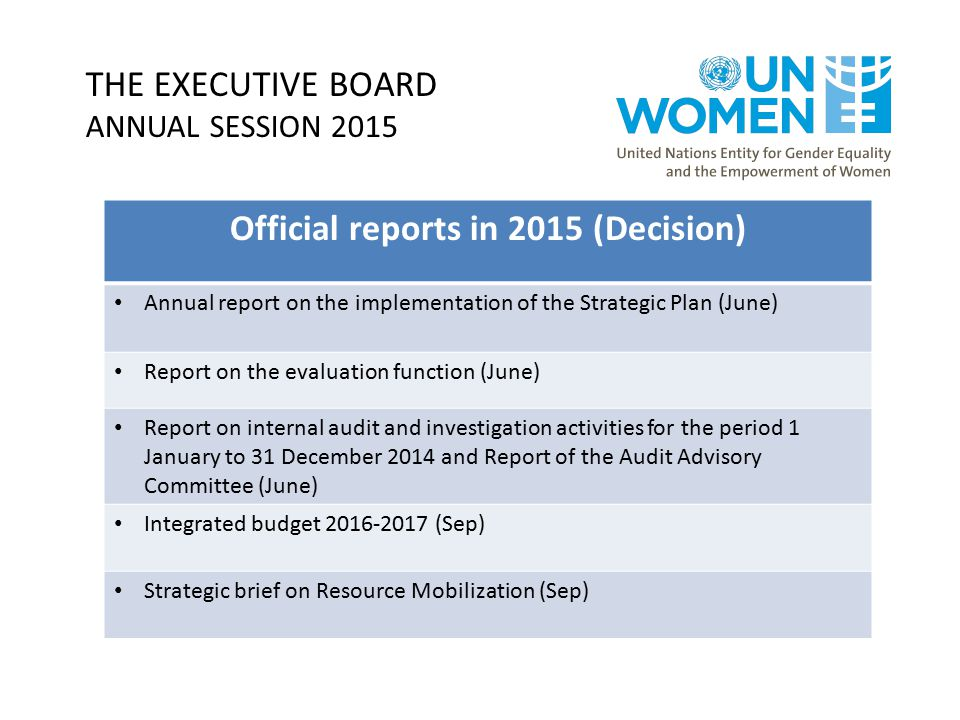 THE EXECUTIVE BOARD ANNUAL SESSION 2015