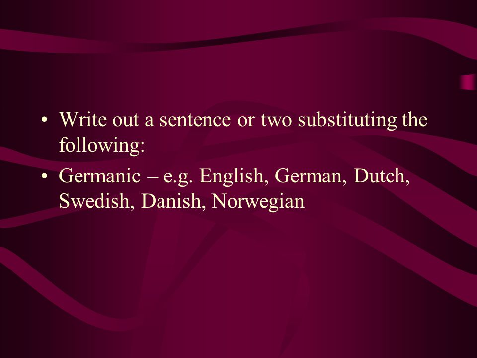 Write out a sentence or two substituting the following: