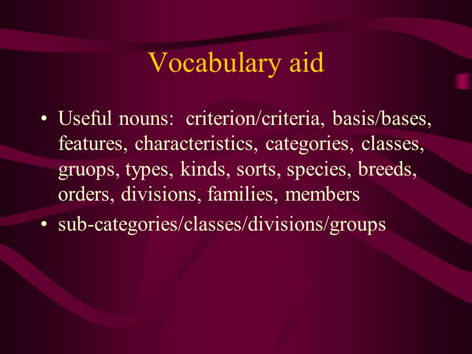 Vocabulary aid