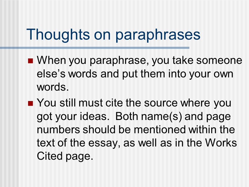 Thoughts on paraphrases
