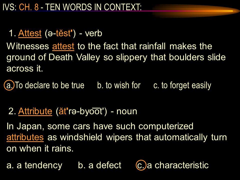 IVS: CH. 8 - TEN WORDS IN CONTEXT: