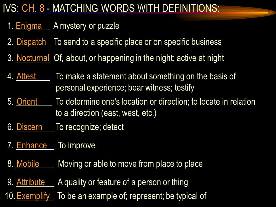 IVS: CH. 8 - MATCHING WORDS WITH DEFINITIONS: