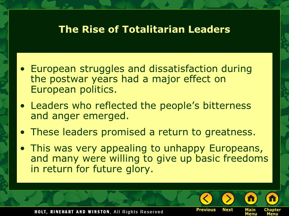 The Rise of Totalitarian Leaders
