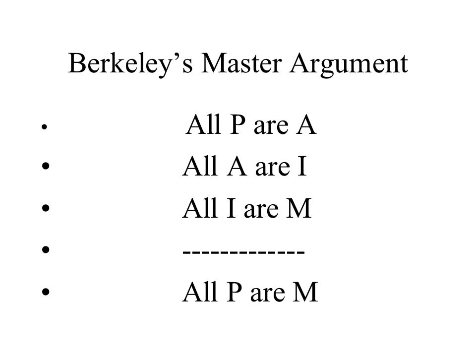 Berkeley's Master Argument