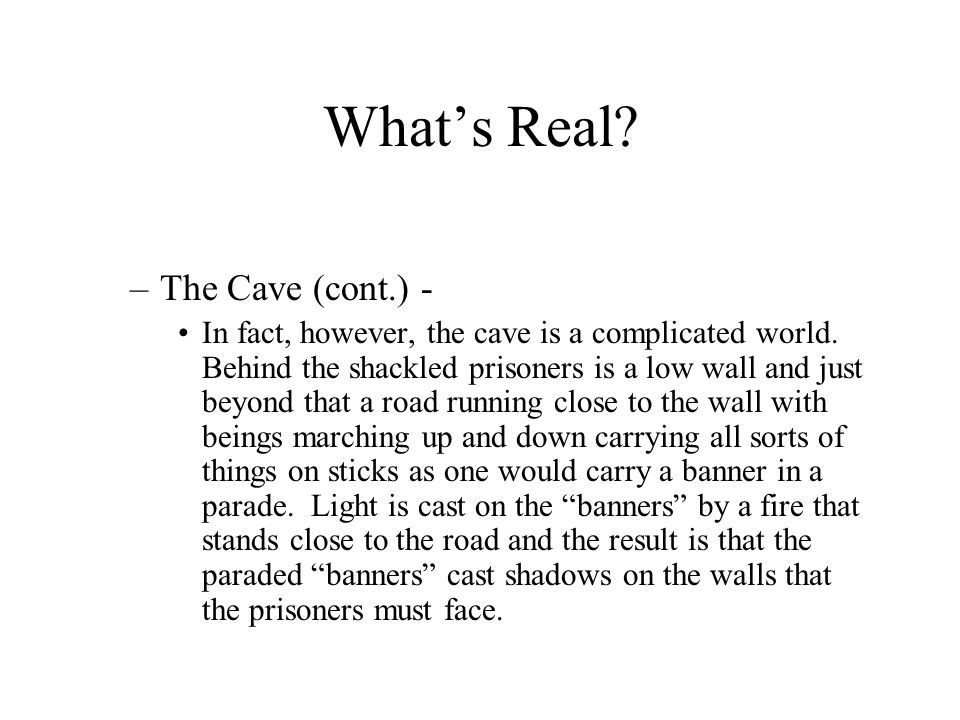 What's Real The Cave (cont.) -