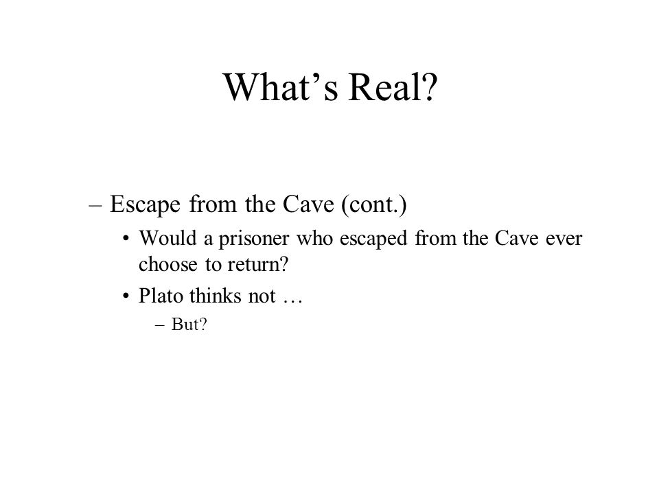 What's Real Escape from the Cave (cont.)