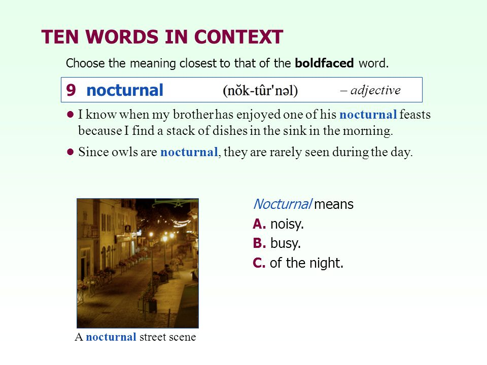 TEN WORDS IN CONTEXT 9 nocturnal – adjective
