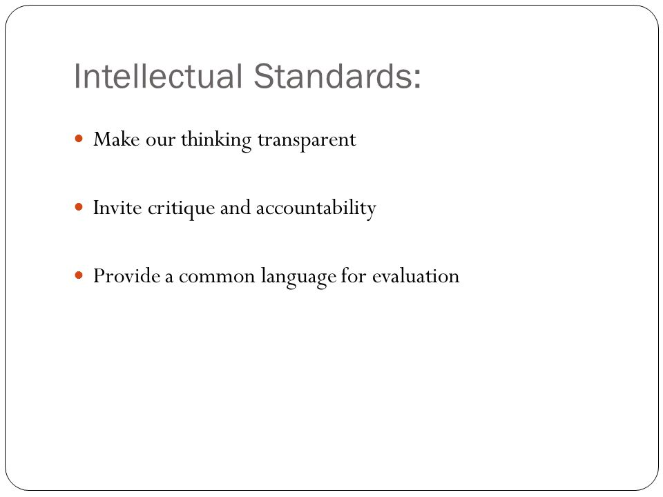 Intellectual Standards: