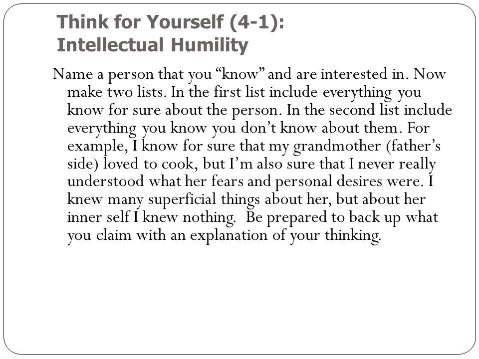 Think for Yourself (4-1): Intellectual Humility