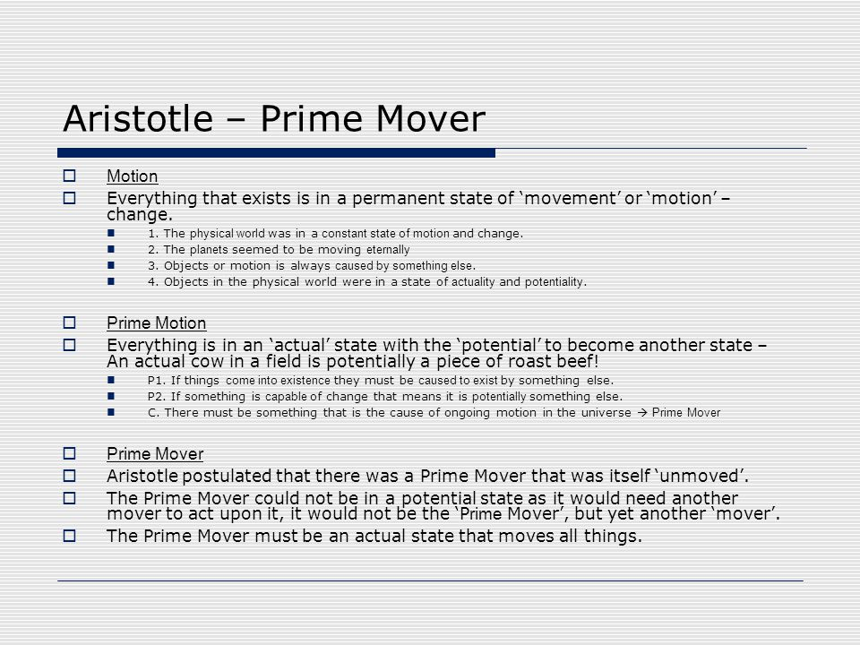 Aristotle – Prime Mover