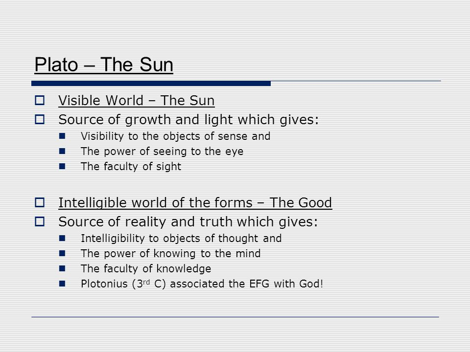 Plato – The Sun Visible World – The Sun