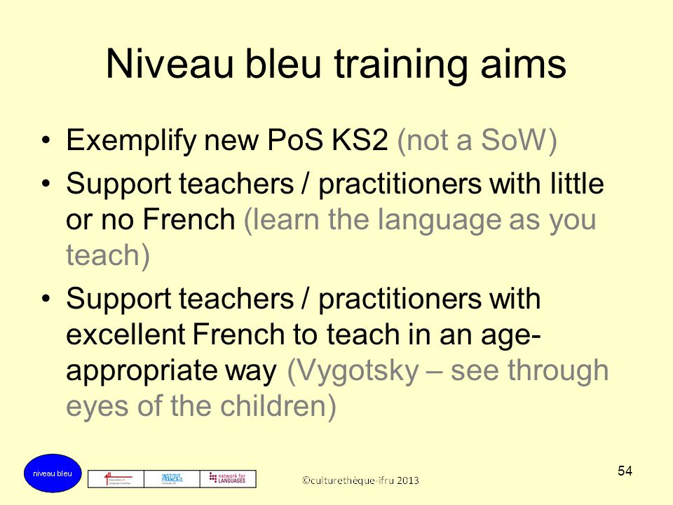 Niveau bleu training aims