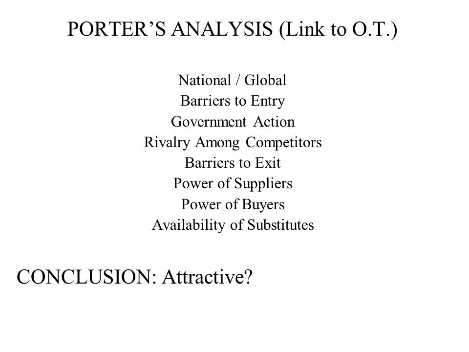 PORTER'S ANALYSIS (Link to O.T.)