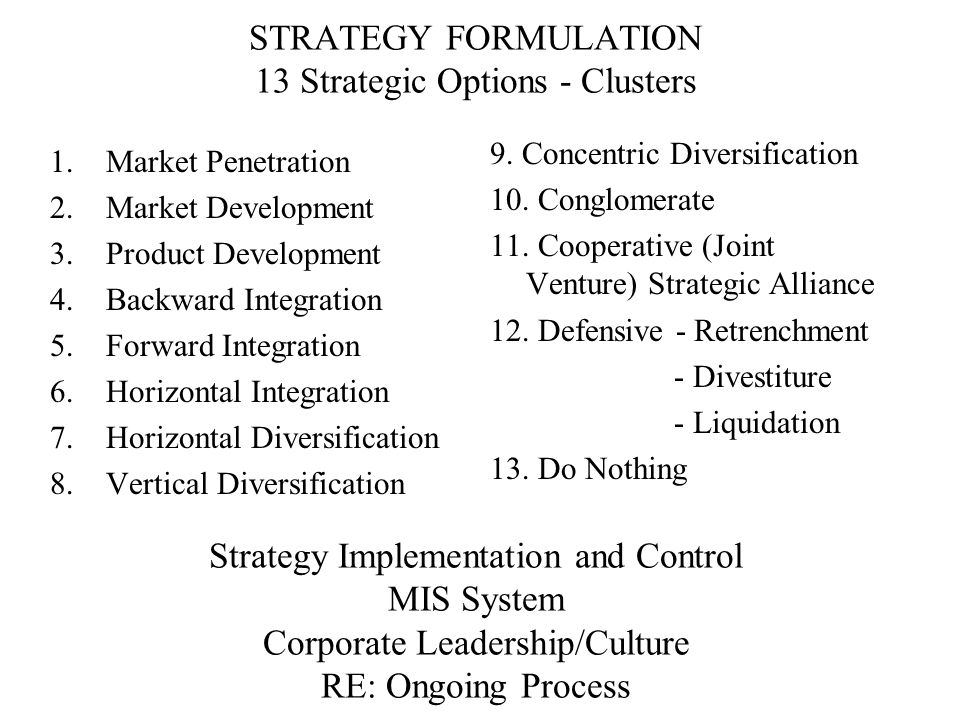 STRATEGY FORMULATION 13 Strategic Options - Clusters Strategy Implementation and Control MIS System Corporate Leadership/Culture RE: Ongoing Process
