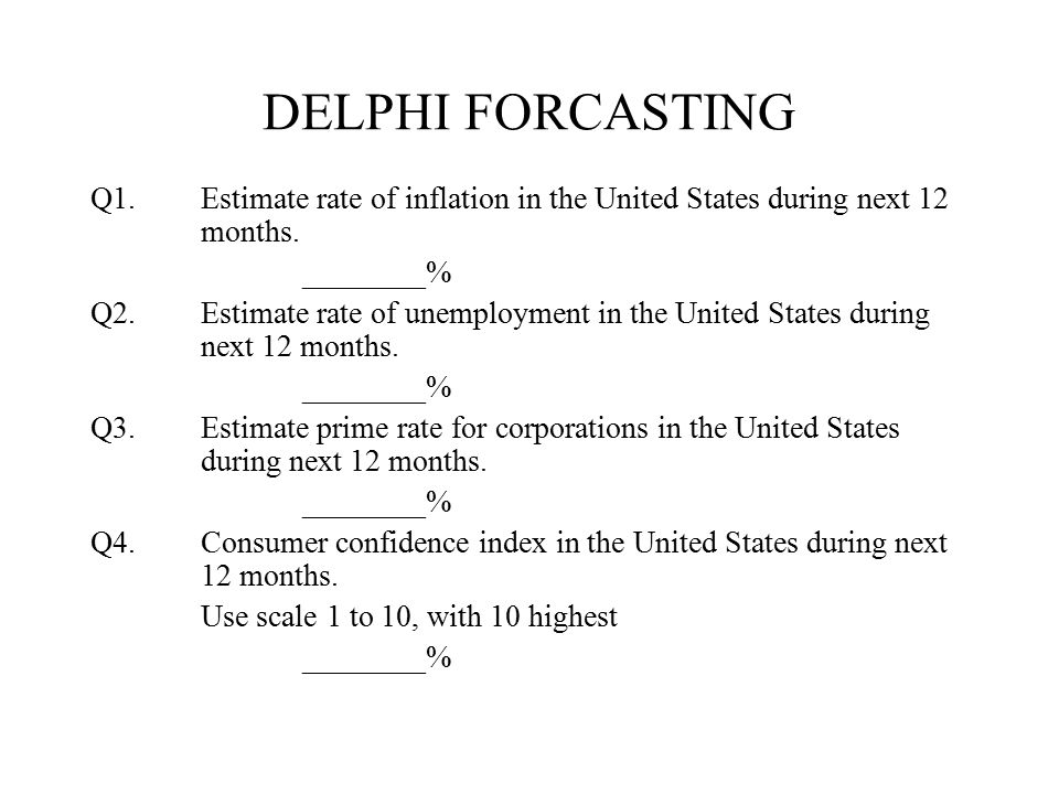 DELPHI FORCASTING Q1. Estimate rate of inflation in the United States during next 12 months. ________%