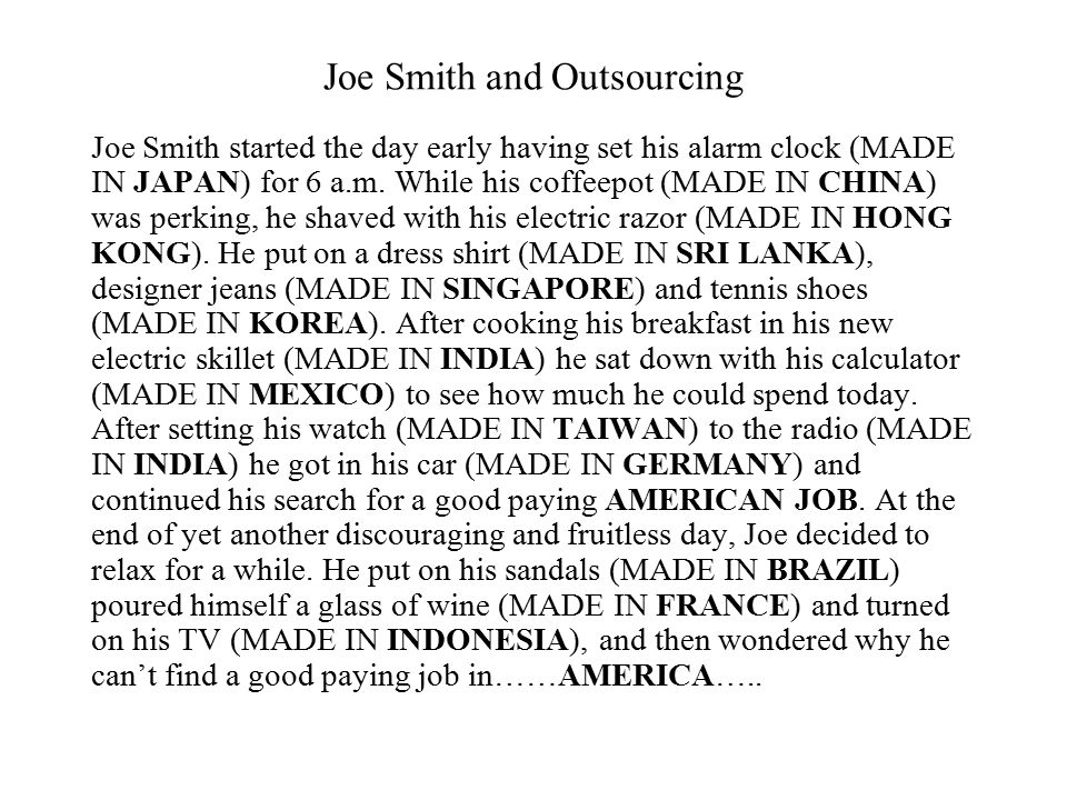 Joe Smith and Outsourcing