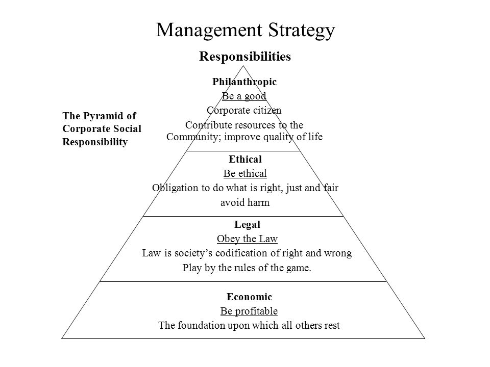 Management Strategy Responsibilities Philanthropic Be a good