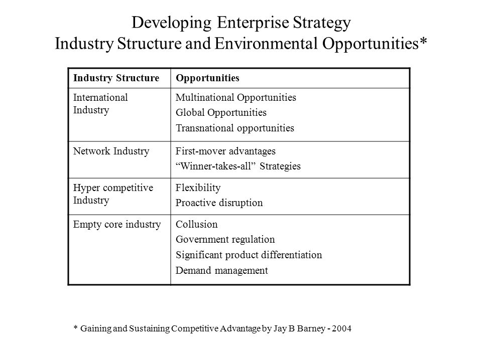 Developing Enterprise Strategy Industry Structure and Environmental Opportunities*