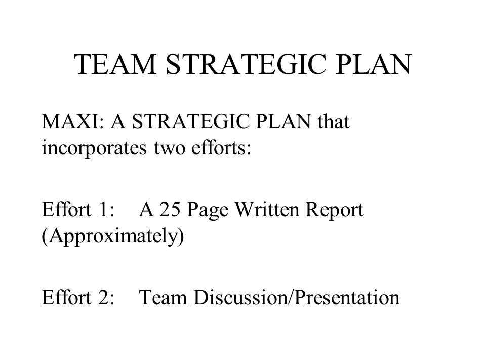 TEAM STRATEGIC PLAN MAXI: A STRATEGIC PLAN that incorporates two efforts: Effort 1: A 25 Page Written Report (Approximately)