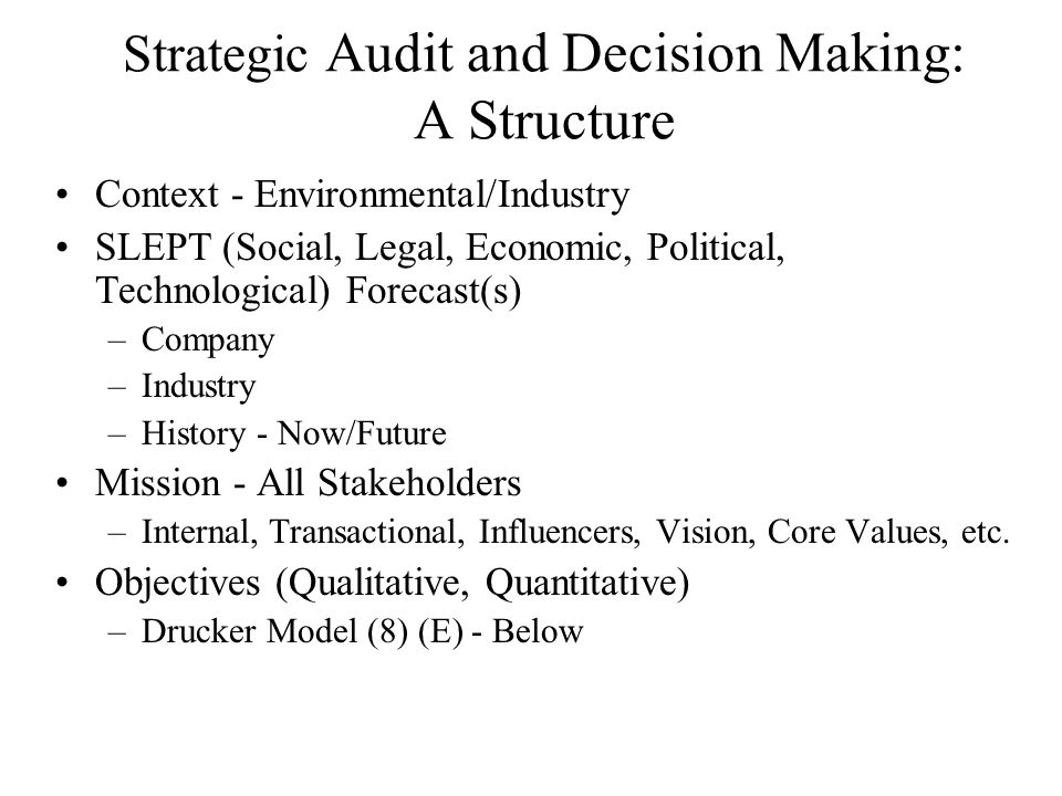 Strategic Audit and Decision Making: A Structure