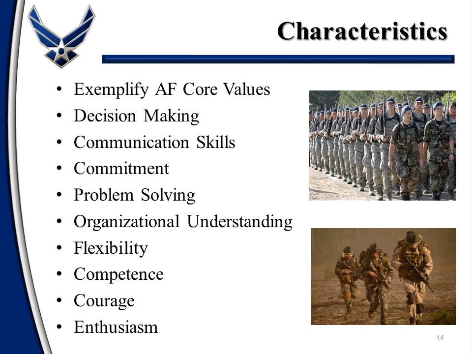 Characteristics Exemplify AF Core Values Decision Making