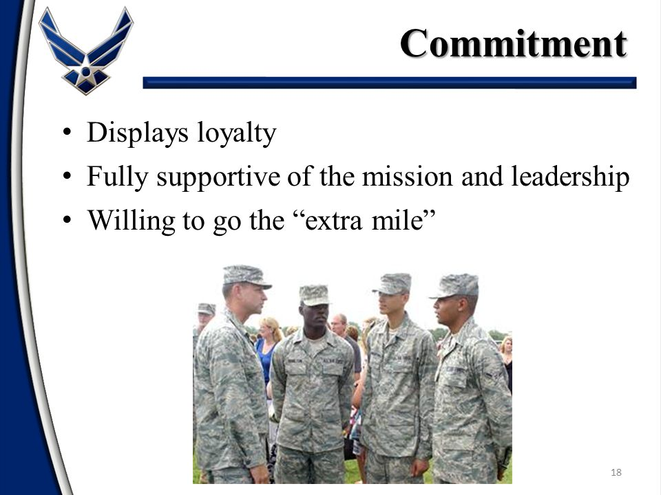Commitment Displays loyalty