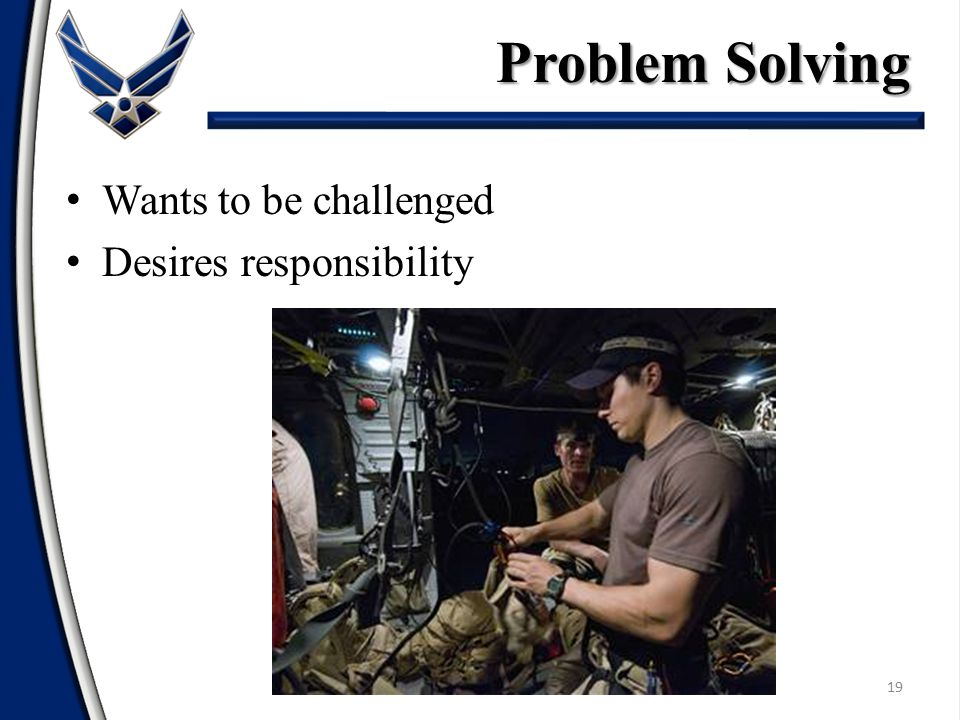 Problem Solving Wants to be challenged Desires responsibility