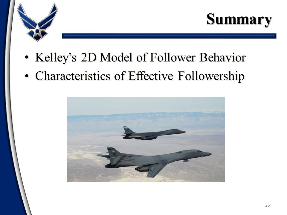 Summary Kelley's 2D Model of Follower Behavior
