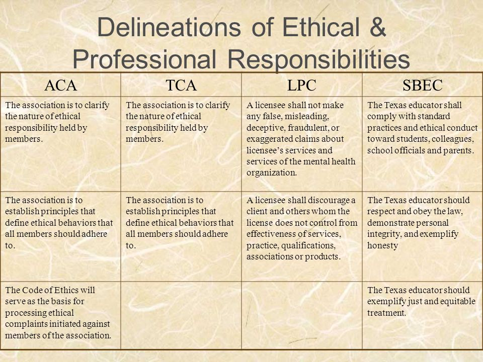 Delineations of Ethical & Professional Responsibilities