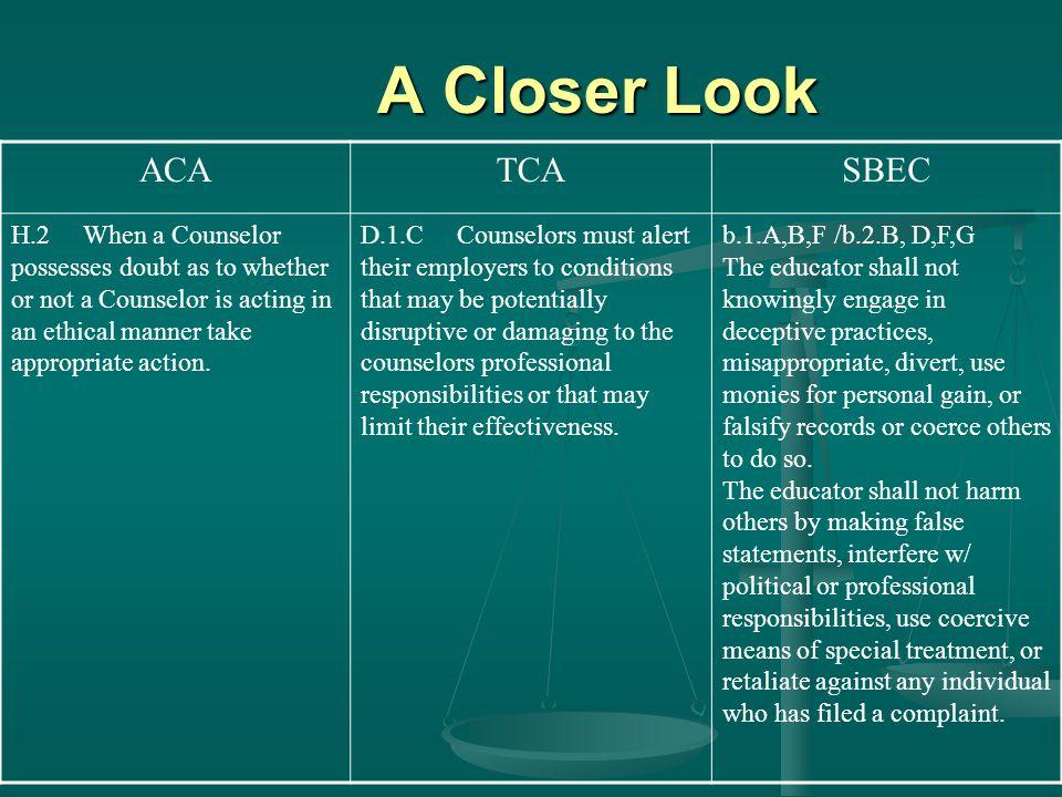 A Closer Look ACA TCA SBEC
