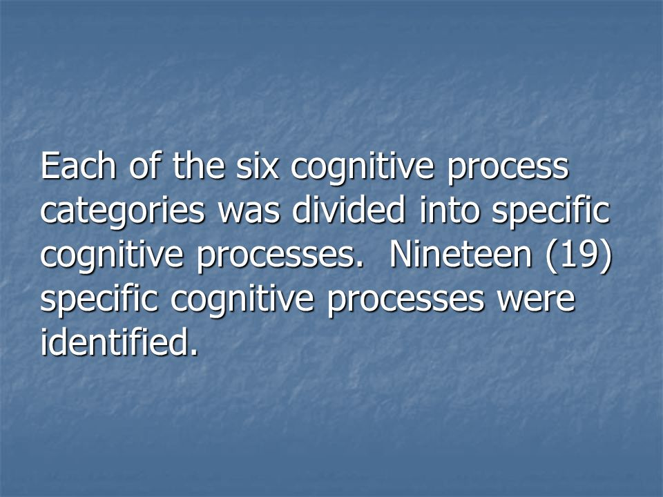 Each of the six cognitive process categories was divided into specific cognitive processes.