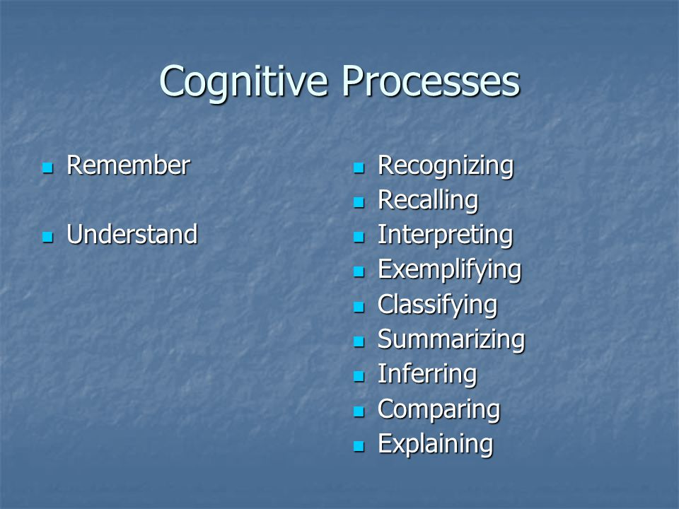 Cognitive Processes Remember Understand Recognizing Recalling