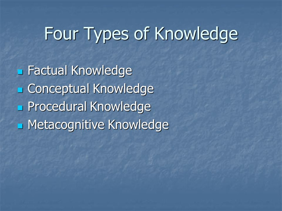 Four Types of Knowledge