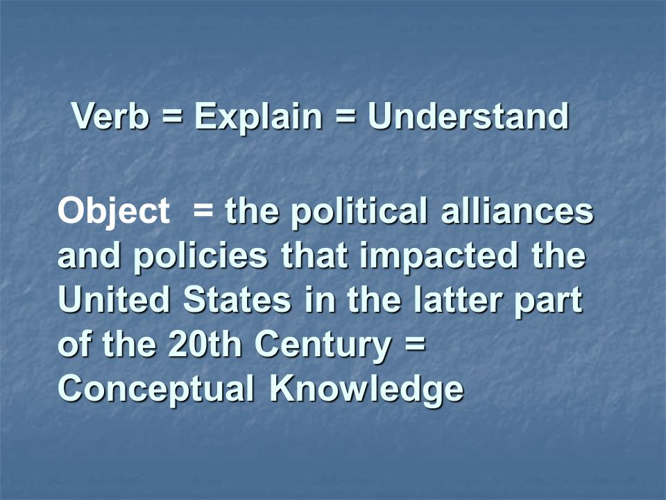 Verb = Explain = Understand