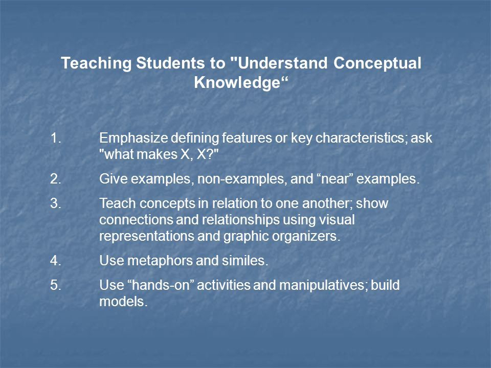 Teaching Students to Understand Conceptual Knowledge