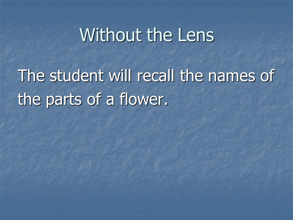 Without the Lens The student will recall the names of