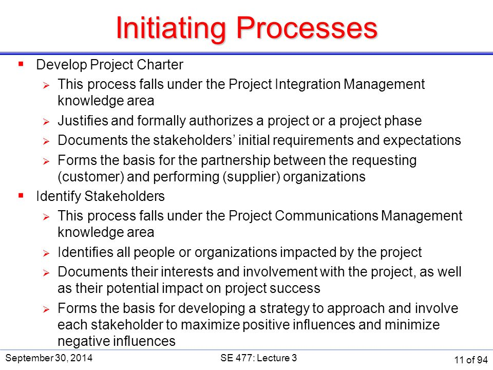 Initiating Processes Develop Project Charter