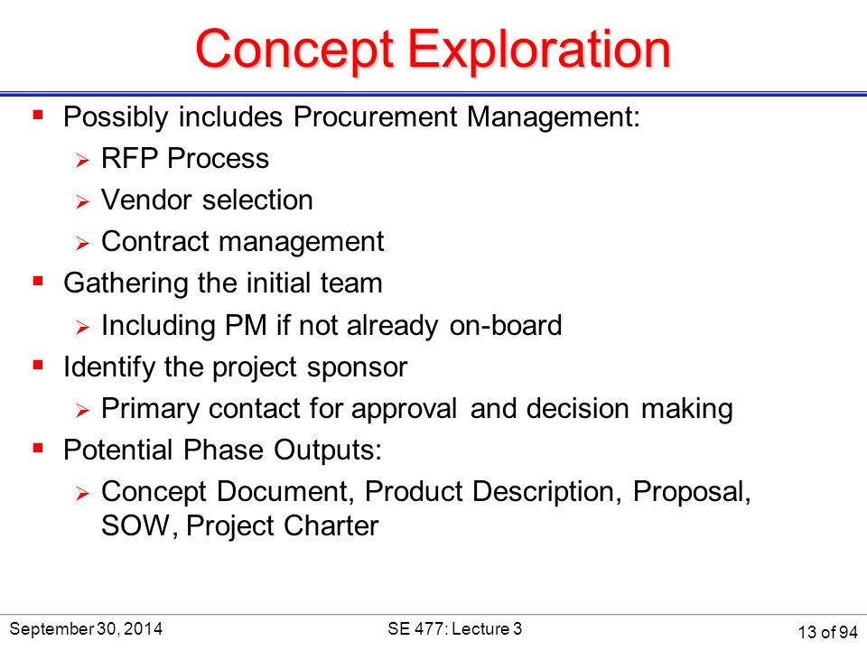 Concept Exploration Possibly includes Procurement Management: