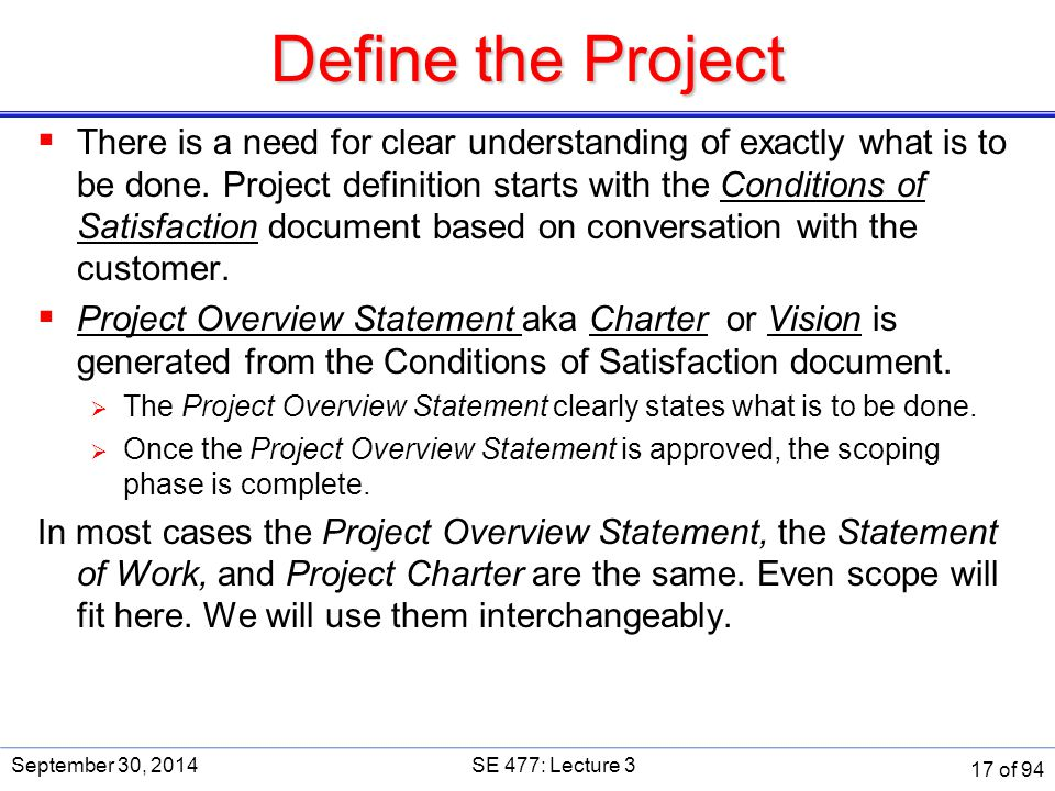Define the Project SE 477. September 30, 2014.