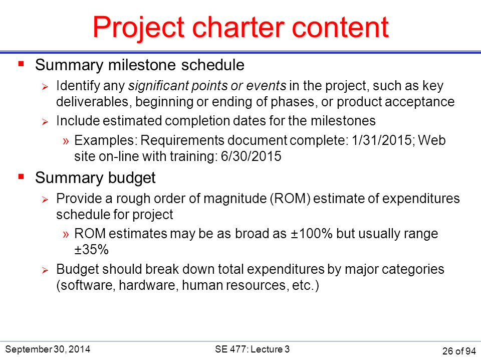 software project charter template - se 477 software and systems project management ppt download