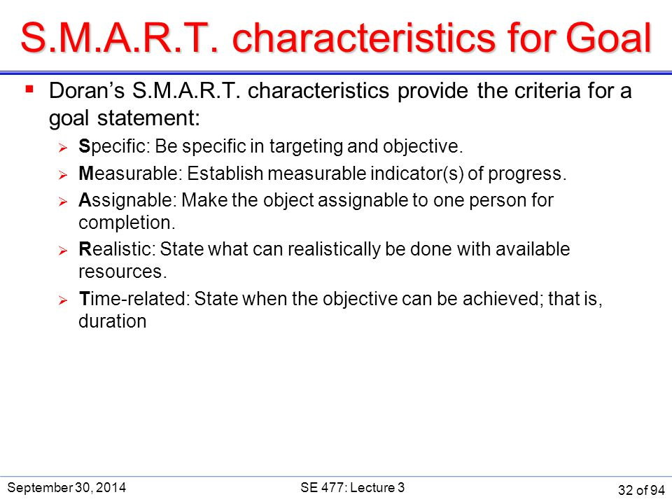 S.M.A.R.T. characteristics for Goal