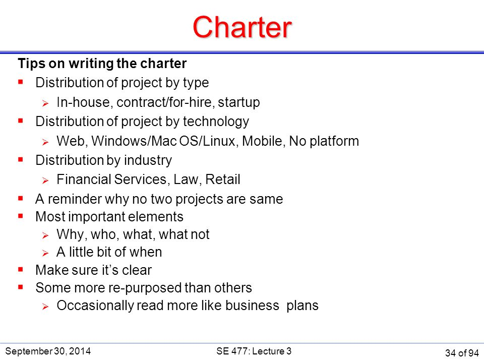 Charter Tips on writing the charter Distribution of project by type
