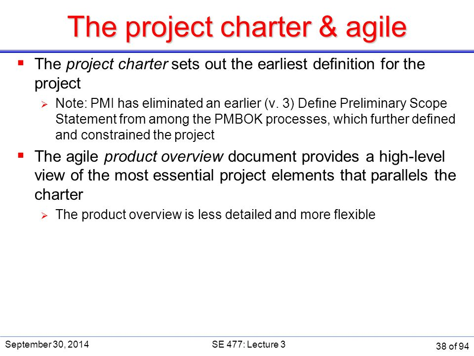 The project charter & agile