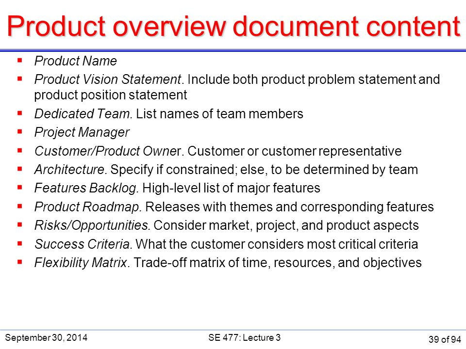 Product overview document content