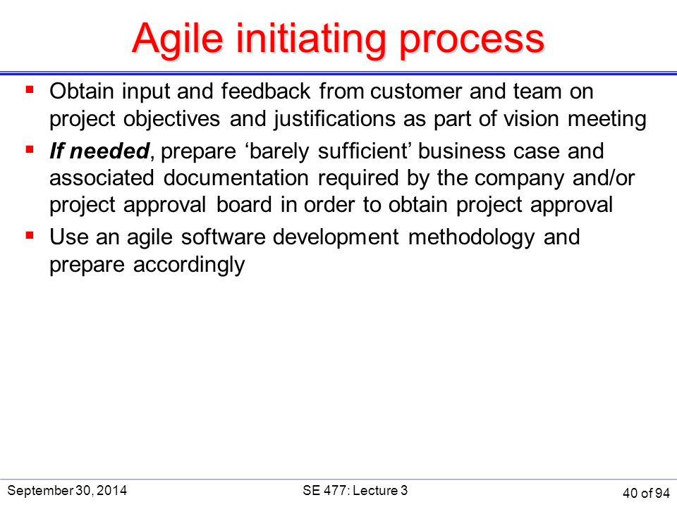 Agile initiating process