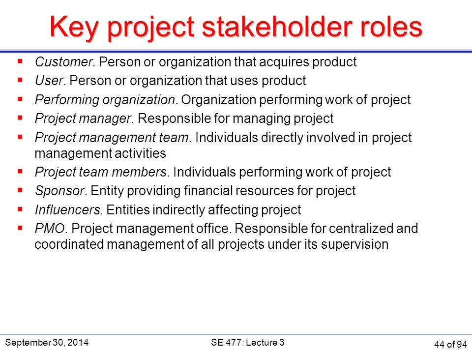 Key project stakeholder roles